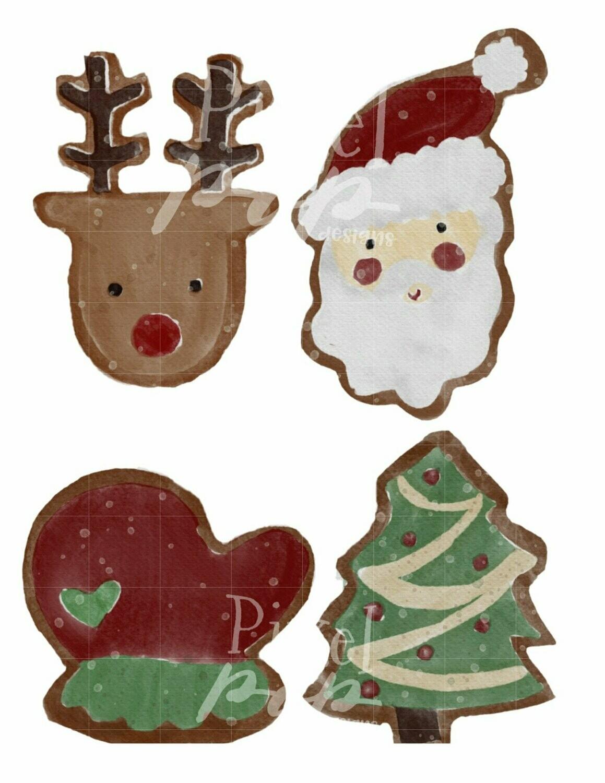 Watercolor Christmas Cookies Clip Art Sublimation PNG | Hand Drawn Design | Sublimation PNG | Digital Download | Printable Artwork | Art