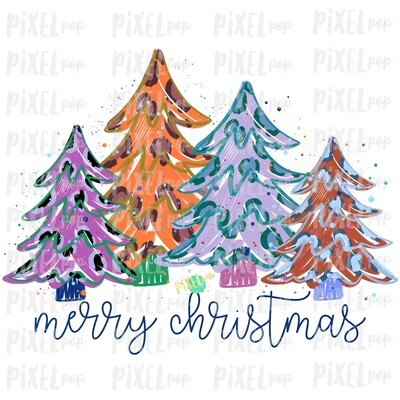 Colorful Leopard Trees Merry Christmas Sublimation PNG | Hand Drawn Design | Sublimation PNG | Digital Download | Printable Artwork | Art