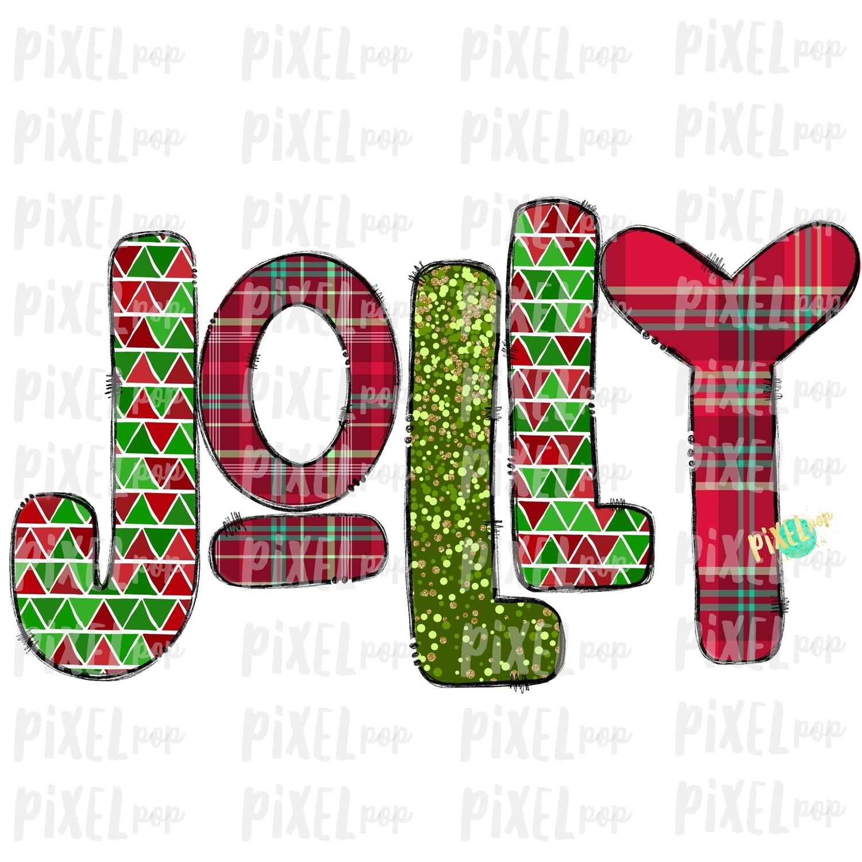 Jolly Christmas Plaid Patterened Word Sublimation PNG   Tree Farm Art   Hand Drawn Design   Digital Download   Printable Artwork   Art