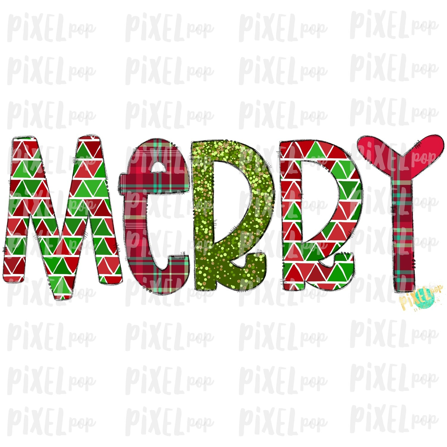 Merry Christmas Plaid Patterened Word Sublimation PNG | Tree Farm Art | Hand Drawn Design | Digital Download | Printable Artwork | Art