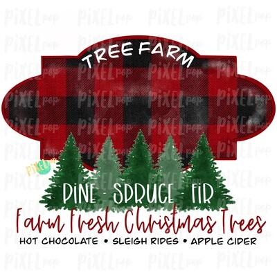 Christmas Tree Farm BLANK Watercolor Sublimation PNG | Tree Farm Art | Hand Drawn Design | Digital Download | Printable Artwork | Art