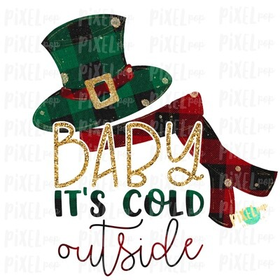 Baby It's Cold Outside Plaids Gold Glitter Snowman Sublimation PNG | Hand Drawn Art  Sublimation PNG | Digital Download | Printable Artwork | Art