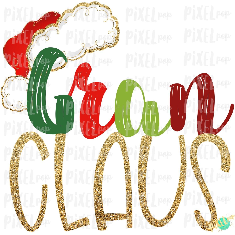 Gran Claus Santa Hat Digital Watercolor Sublimation PNG Art | Drawn Design | Sublimation PNG | Digital Download | Printable Artwork | Art
