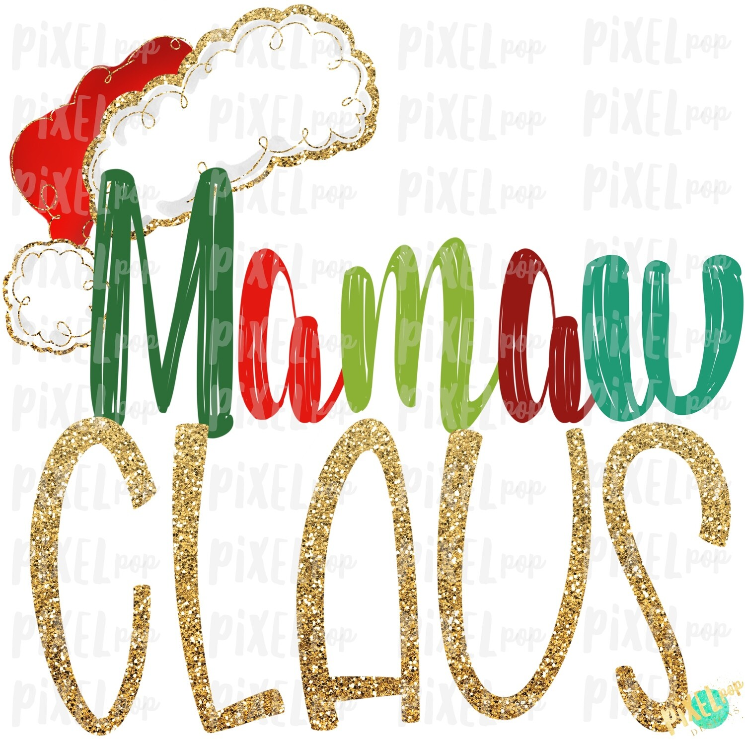 Mamaw Claus Santa Hat Digital Sublimation Art | Drawn Design | Sublimation PNG | Digital Download | Printable Artwork | Art