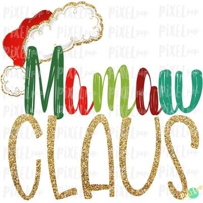 Mamaw Claus Santa Hat Digital Sublimation Art | Drawn Design | Sublimation PNG | Digital Download | Printable Artwork | Art