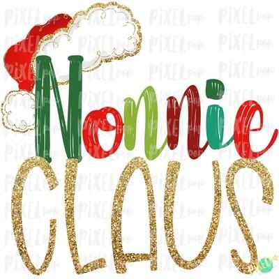 Nonnie Claus Santa Hat Digital Watercolor Sublimation PNG Art | Drawn Design | Sublimation PNG | Digital Download | Printable Artwork | Art