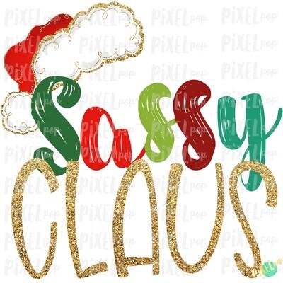 Sassy Claus Santa Hat Digital Watercolor Sublimation PNG Art | Drawn Design | Sublimation PNG | Digital Download | Printable Artwork | Art