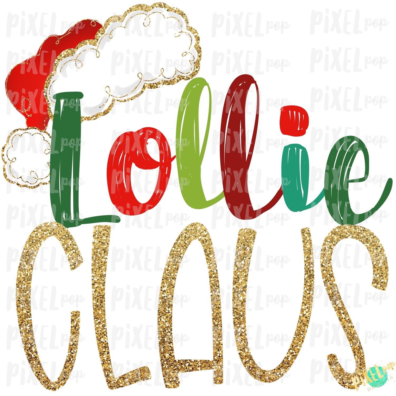 Lollie Claus Santa Hat Digital Watercolor Sublimation PNG Art | Drawn Design | Sublimation PNG | Digital Download | Printable Artwork | Art