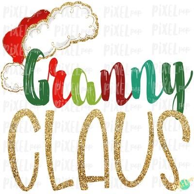 Granny Claus Santa Hat Digital Watercolor Sublimation PNG Art | Drawn Design | Sublimation PNG | Digital Download | Printable Artwork | Art