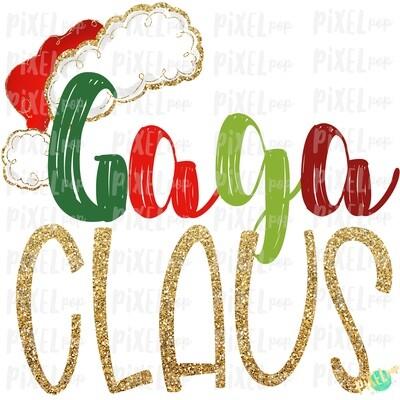 Gaga Claus Santa Hat Digital Watercolor Sublimation PNG Art | Drawn Design | Sublimation PNG | Digital Download | Printable Artwork | Art