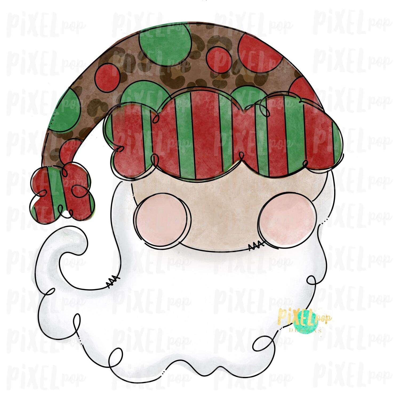 Leopard Print Whimsical Santa Claus Painted Digital Watercolor Sublimation PNG | Drawn Design | Clip Art PNG | Digital Download | Printable Artwork | Art