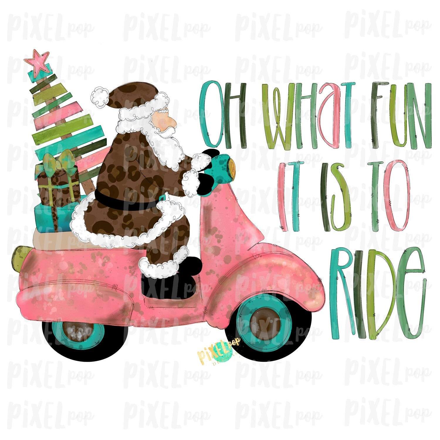 Oh What Fun it is to Ride Moped Santa Leopard Sublimation PNG | Hand Drawn Art Sublimation PNG | Digital Download | Printable Artwork | Art