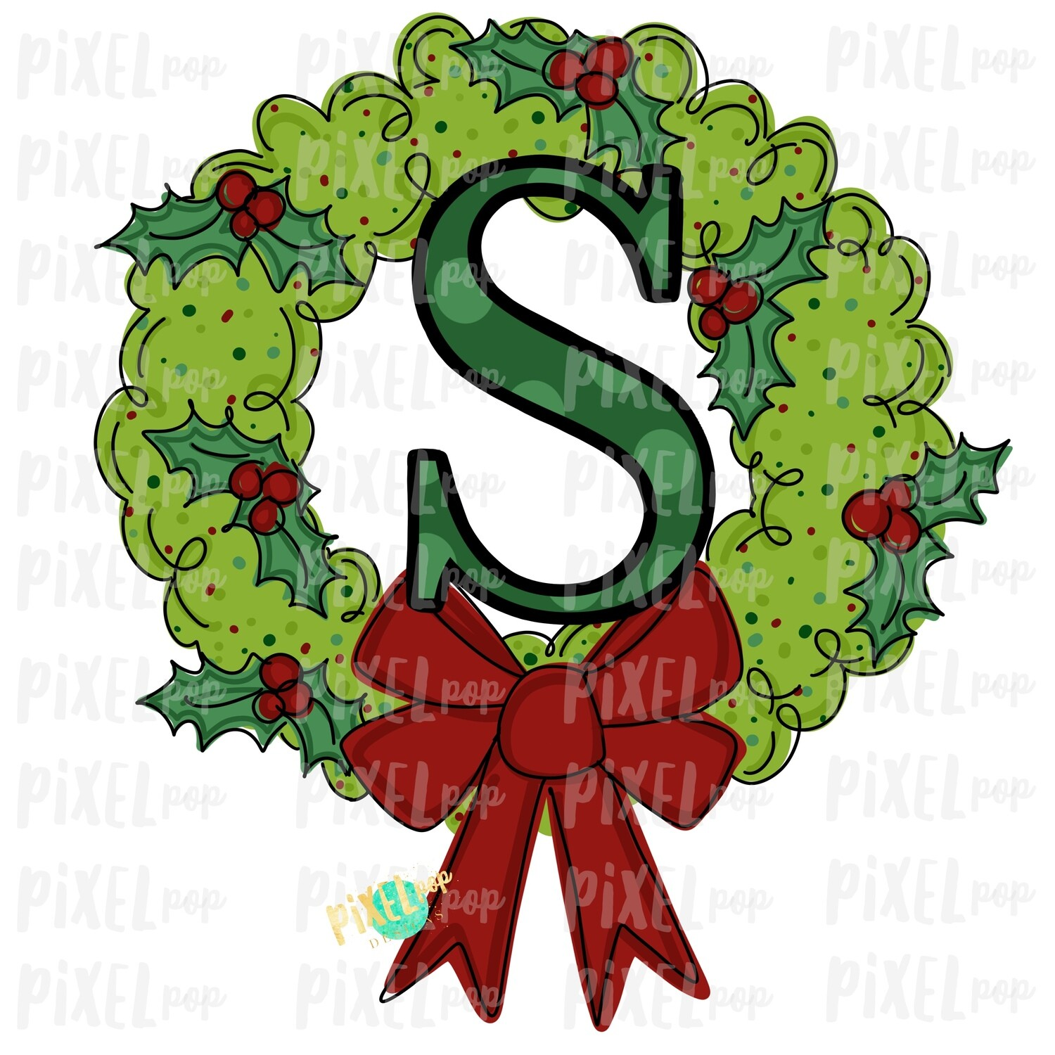 Whimsical Holly Wreath with S Monogram PNG | Christmas Sublimation | Hand Painted | Sublimation | Digital Download | Printable Artwork | Art