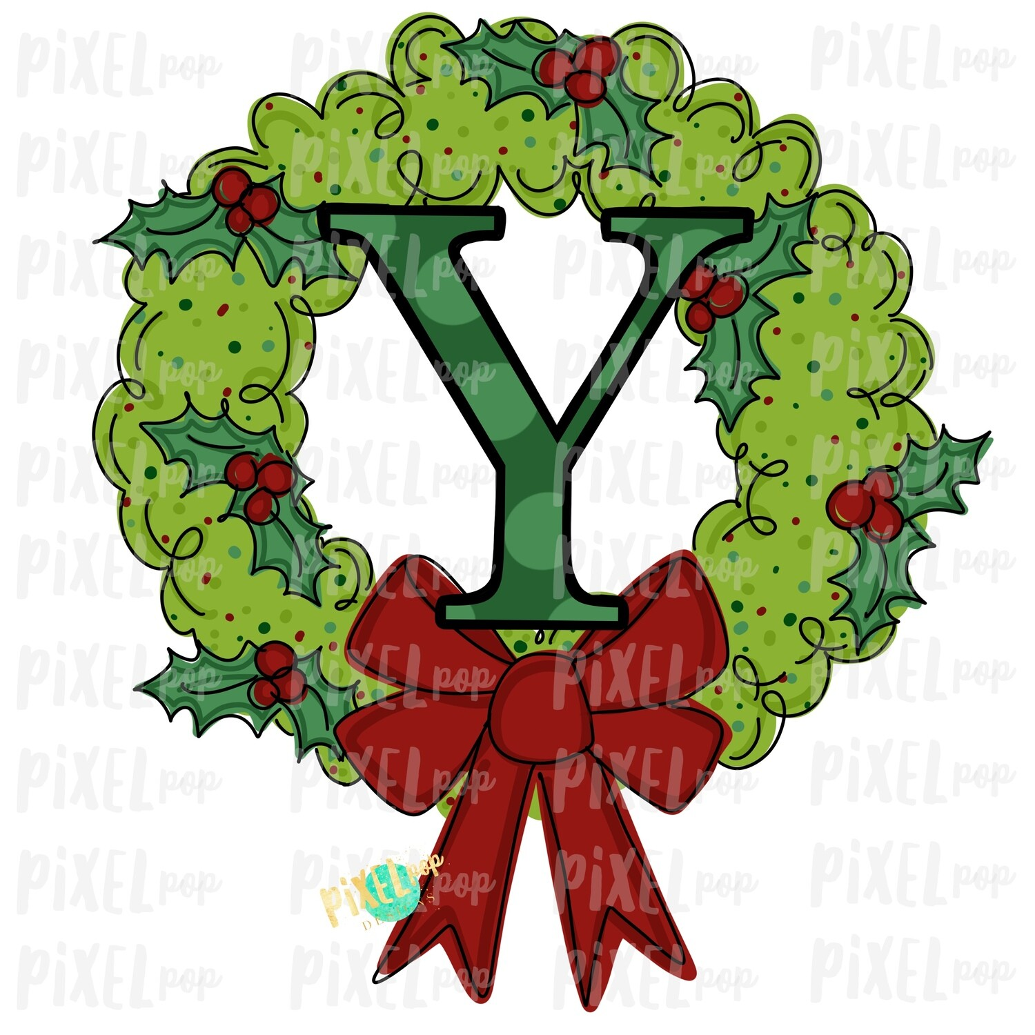 Whimsical Holly Wreath with Y Monogram PNG | Christmas Sublimation | Hand Painted | Sublimation | Digital Download | Printable Artwork | Art