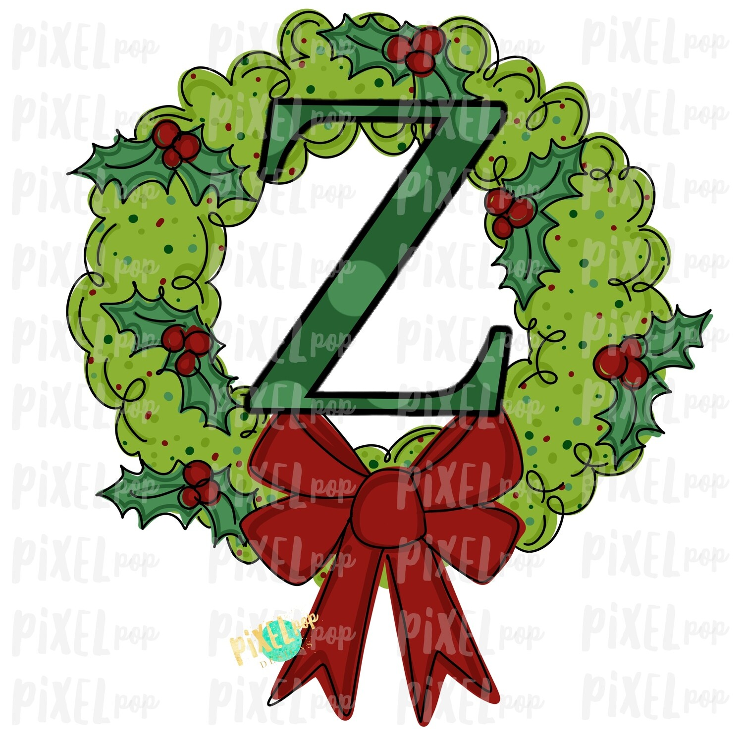Whimsical Holly Wreath with Z Monogram PNG | Christmas Sublimation | Hand Painted | Sublimation | Digital Download | Printable Artwork | Art