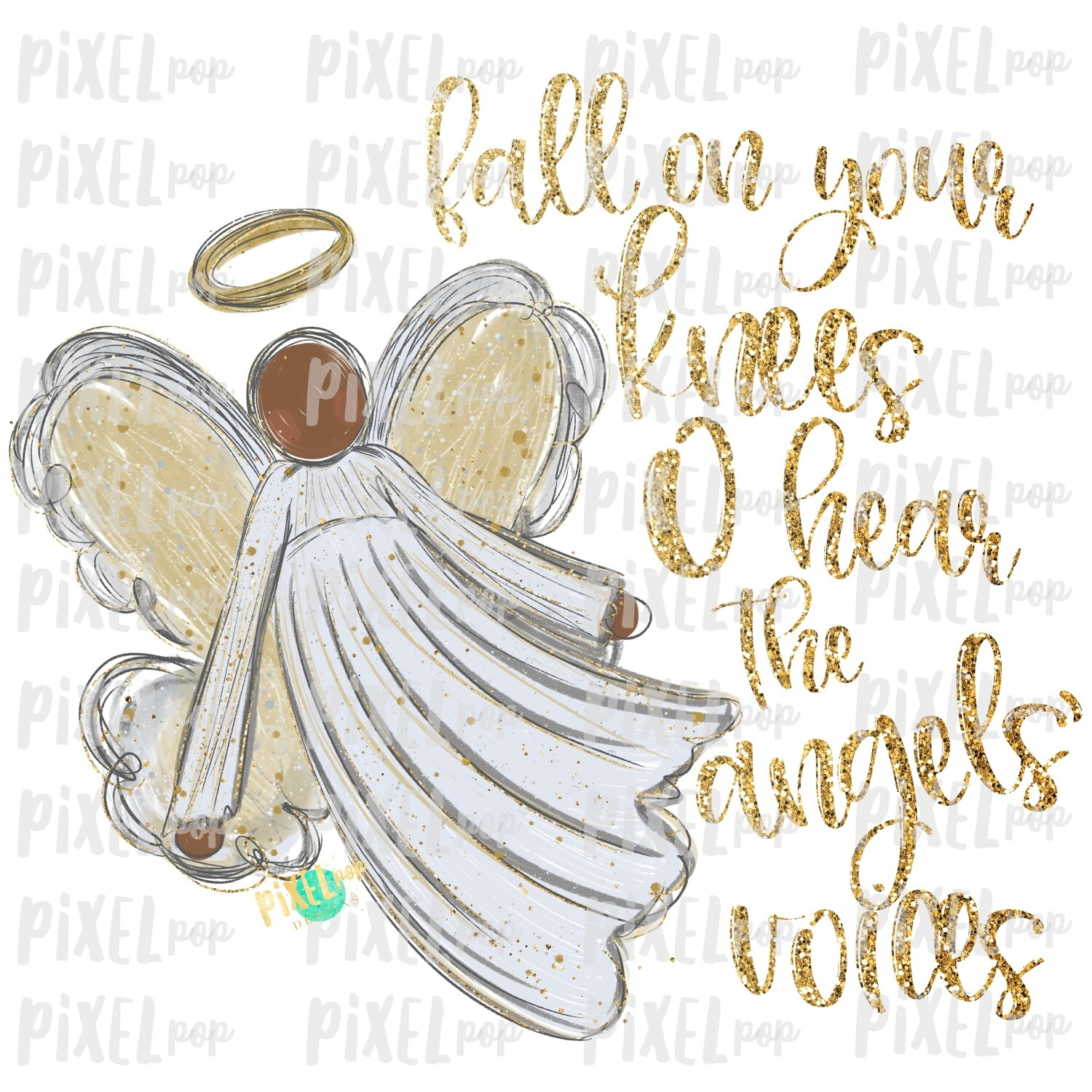 Dark Skin Angel GLITTER Fall on Your Knees Art Sublimation PNG   Ornament Design   Hand Painted   Digital Download   Printable   Christmas