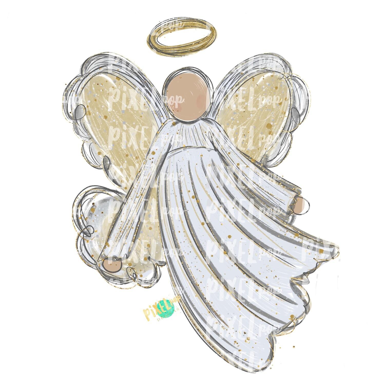 Light Skin Angel Watercolor Digital Art Sublimation PNG   Ornament Design   Hand Painted   Digital Download   Printable   Christmas   Loss