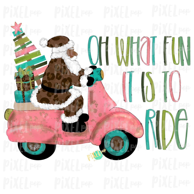 Oh What Fun it is to Ride Moped Santa Dark Leopard Sublimation PNG | Watercolor Santa | Santa Claus | Art | Sublimation PNG | Digital Art
