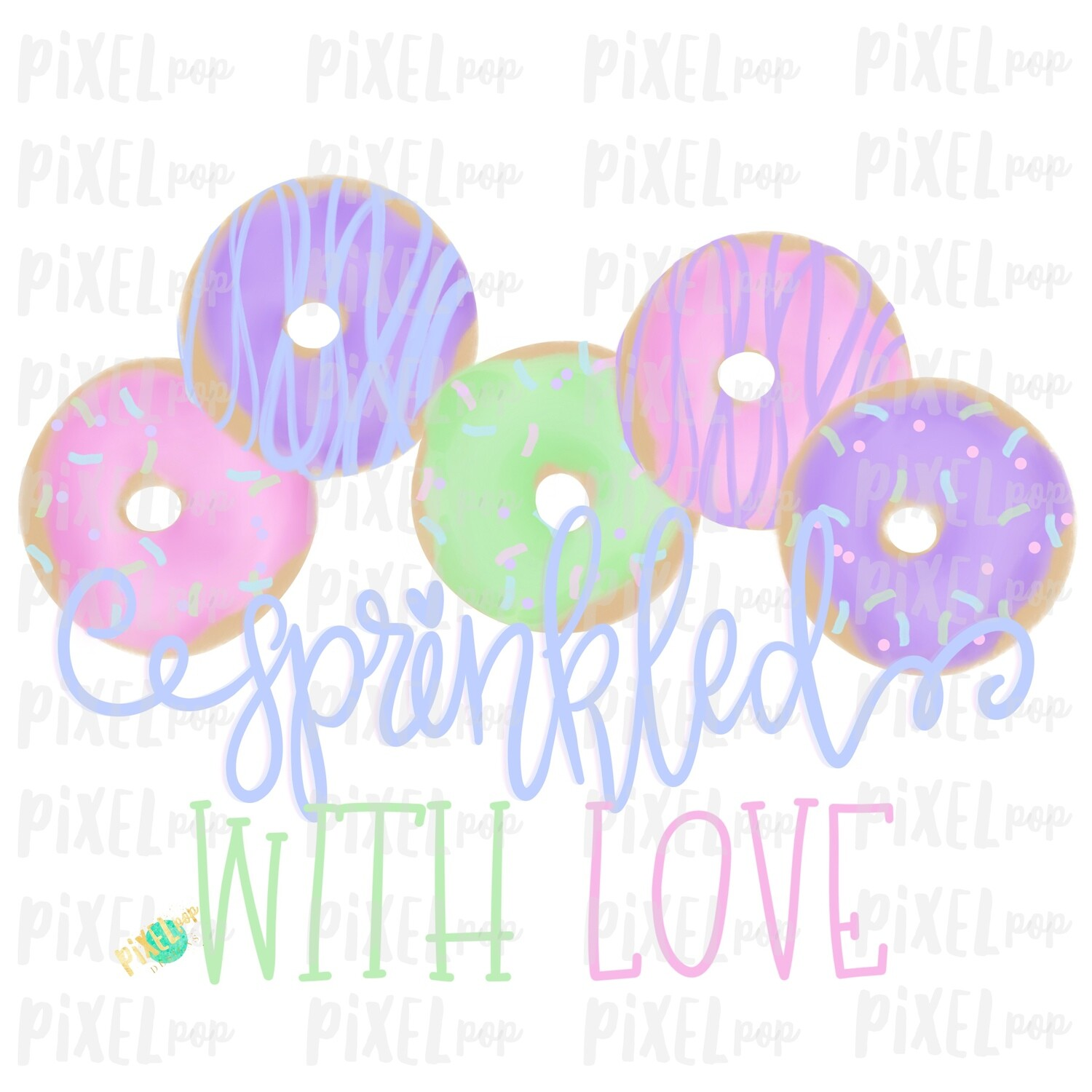 Sprinkled with Love Donuts Watercolor Sublimation Design PNG | Hand Drawn PNG | Sublimation | Digital Download | Printable Art | Clip Art