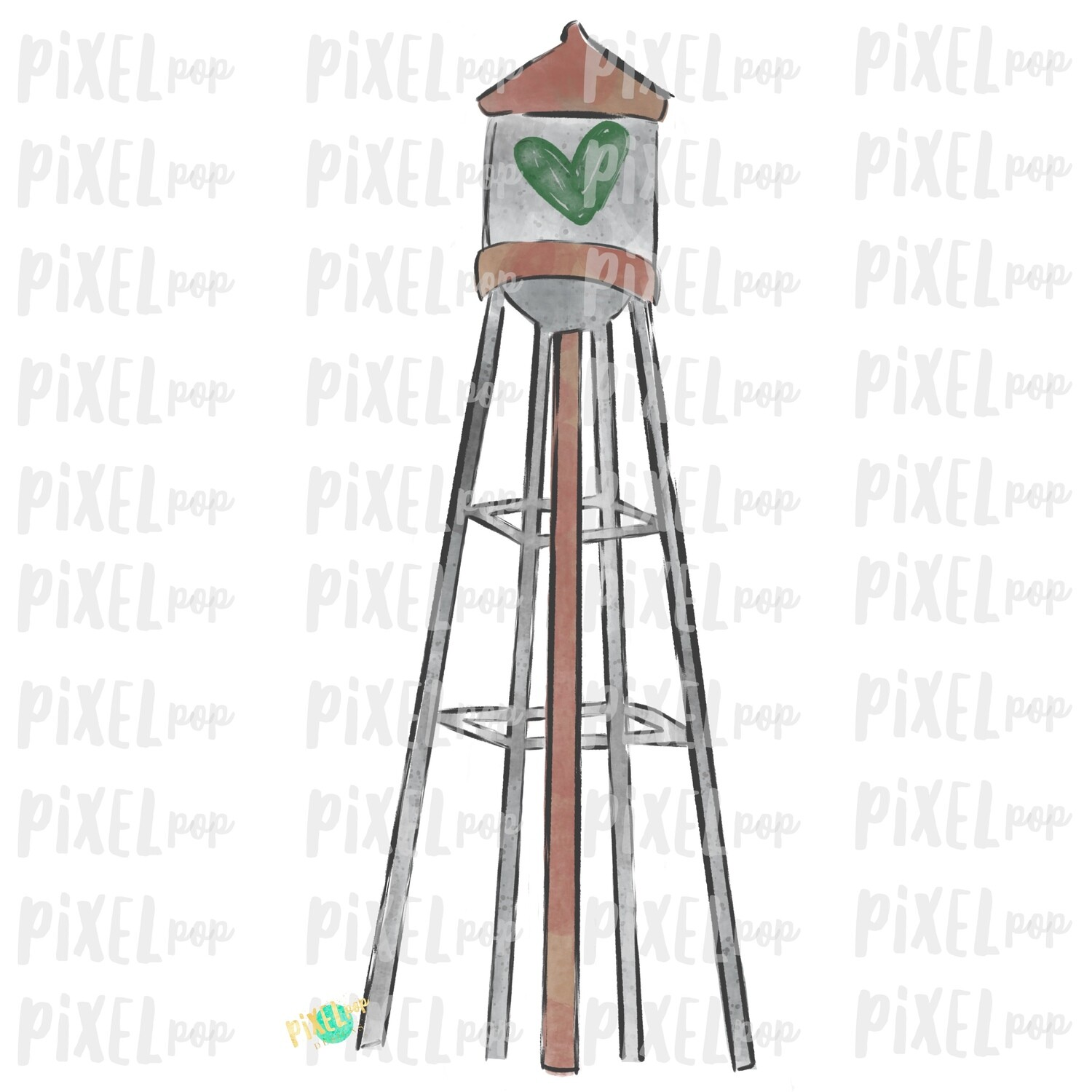 Water Tower Green Heart Digital Art Sublimation PNG   Valentines Day Art   Country Valentine   Digital Download   Printable Art   Clip Art
