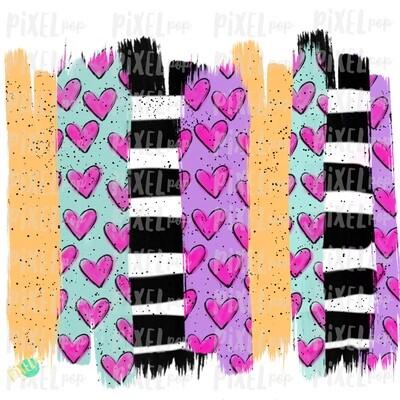 Valentine Hearts Brush Stroke Background Sublimation PNG | Valentine Day Art | Bible Verse | Digital Download | Printable Art | Clip Art