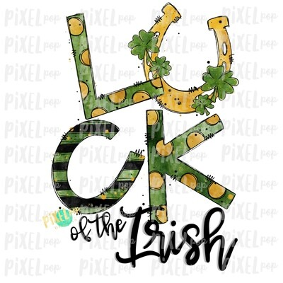 Luck of the Irish Saint Patrick's Day Sublimation PNG   Clover Horeshoe   Hand Painted Art   Digital Download   Printable   St. Paddy's Day