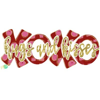 Hugs and Kisses XoXo Gold Script Sublimation PNG | Valentine Day Art | Hand Painted Art | Digital Download | Printable Art | Clip Art