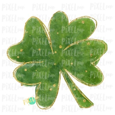 Four Leaf Clover Saint Patrick's Day Sublimation PNG   Clover Art   Design   Painted Art   Digital Download   Printable   St. Paddy's Day