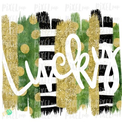 Lucky Cut-Out Brush Stroke Background Sublimation PNG   Design   Hand Painted Art   Digital Download   Printable   St. Paddy's Day