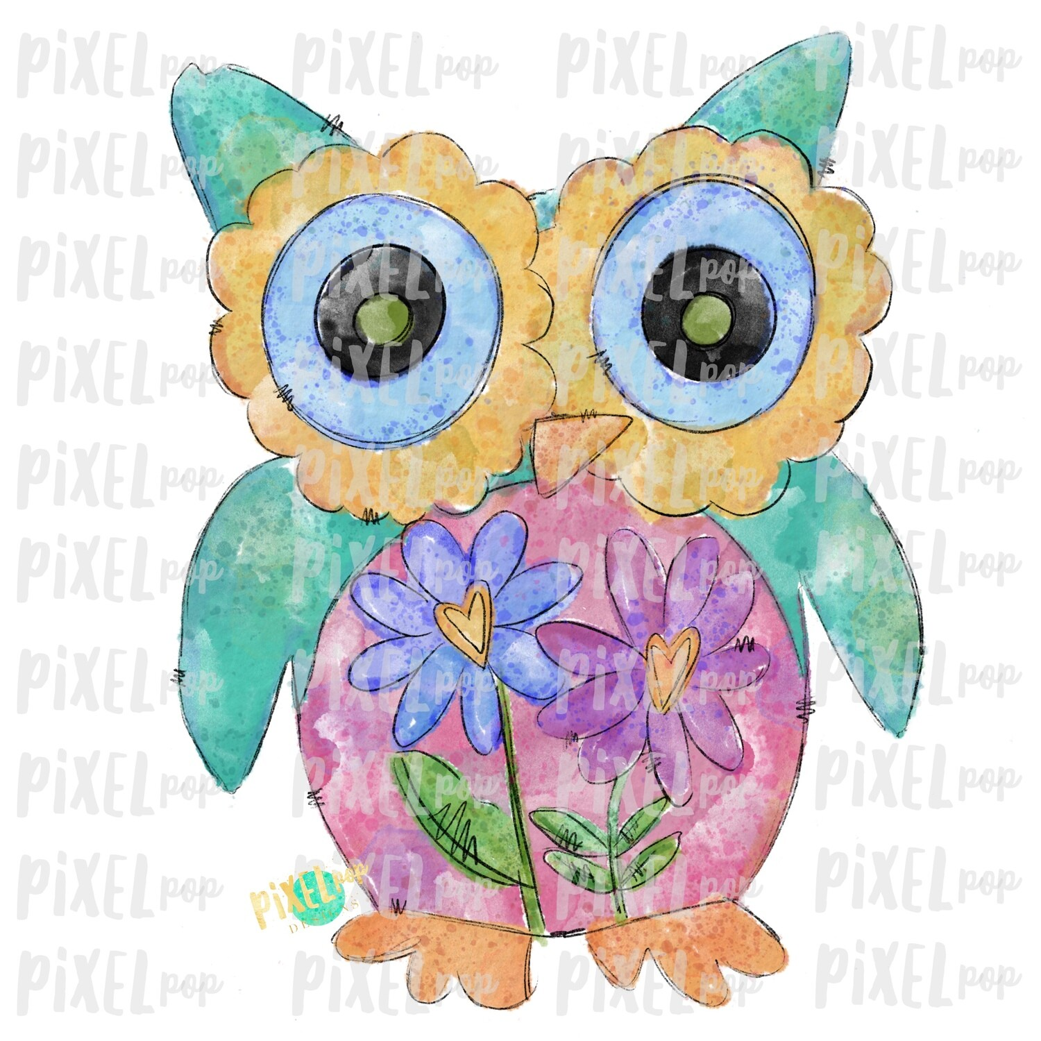 Owl Hand Painted Watercolor Valentines Day Sublimation PNG   Valentine Art   Owl   Printable Art   Digital Download   Printable   Clip Art