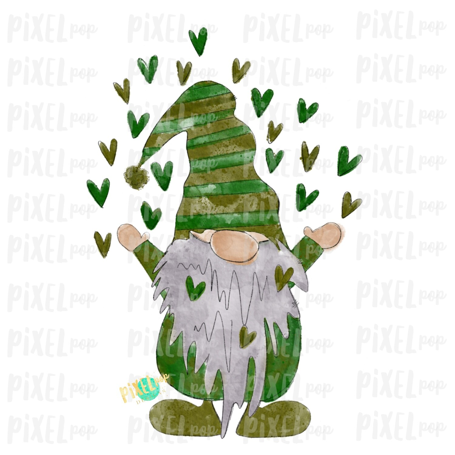 Valentine Heart Gnome Green Watercolor Sublimation PNG   Gnome Digital   Valentines Day Gnome   Valentine Gnome   Watercolor Gnome   Gnome
