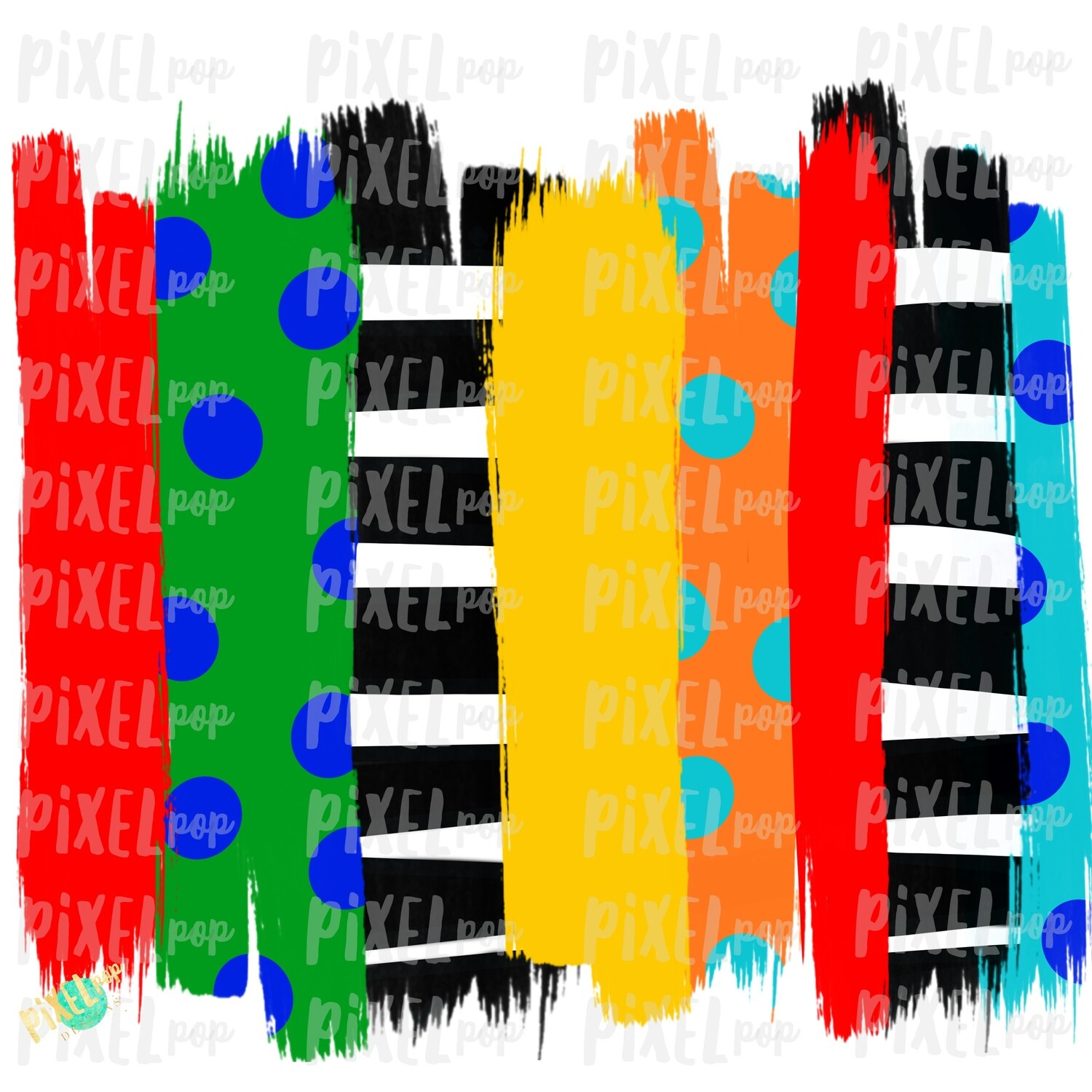Primary Colors Brush Stroke Background Sublimation PNG | Reading PNG | Art | Oh the Places | Hand Painted | Digital Background | Printable