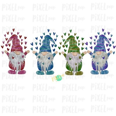 Valentine Heart Gnomes Quad Watercolor Sublimation PNG | Gnome Digital | Valentines Day Gnome | Valentine Gnomes | Watercolor Gnomes | Gnome