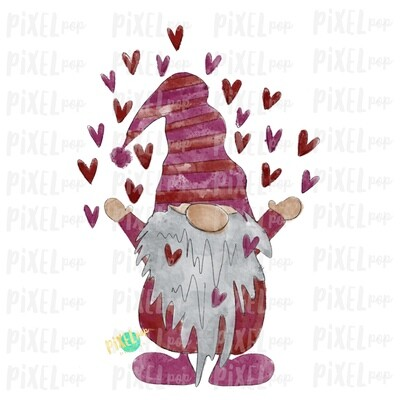 Valentine Heart Gnome Pink Red Watercolor Sublimation PNG | Gnome Digital | Valentines Day Gnome | Hearts Gnome | Watercolor Gnome | Gnome