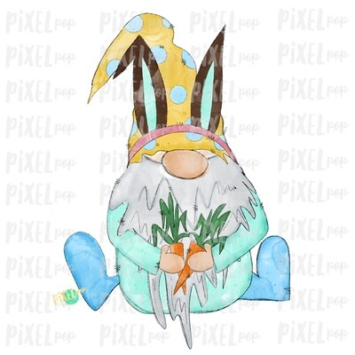 Bunny Garden Gnome with Carrots Watercolor Sublimation PNG | Gnome Digital | Valentines Day Gnome | Hearts Gnome | Watercolor Gnome | Gnome