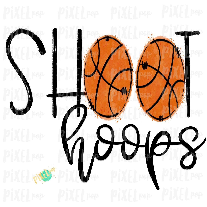 Shoot Hoops Basketball Watercolor Sublimation PNG | Basketball | Sublimation Design | Heat Transfer | Digital Download | Printable Artwork