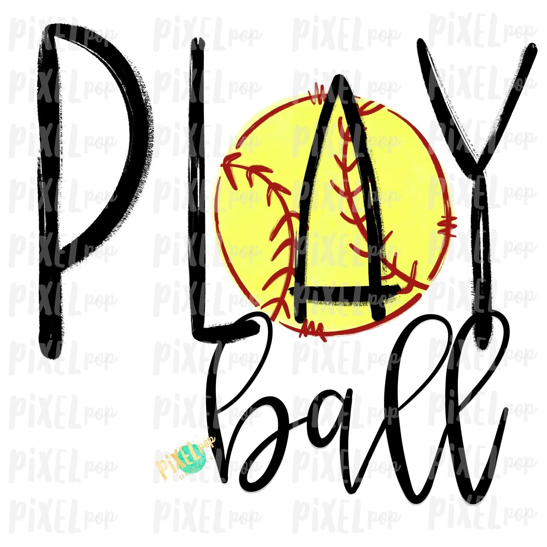 Play Ball Softball Sublimation PNG Design | Baseball Design | Sublimation Design | Heat Transfer | Digital Download | Printable Artwork