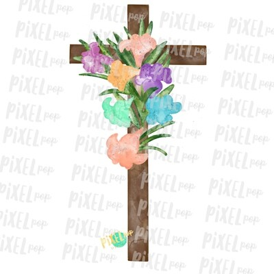 Watercolor Cross with Lillies Sublimation PNG Design | Hand Drawn Painted Design | Sublimation PNG | Digital Download | Printable Artwork