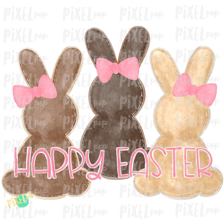 Brown Girl Bunnies Trio Watercolor Sublimation Design PNG   Easter Design   Bunny Design   Easter PNG   Sublimation Design   Watercolor Art