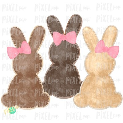 Bunny Watercolor Trio Browns with Bows Sublimation Design PNG | Easter Design | Bunny Design | Easter PNG | Sublimation Design | Watercolor Art