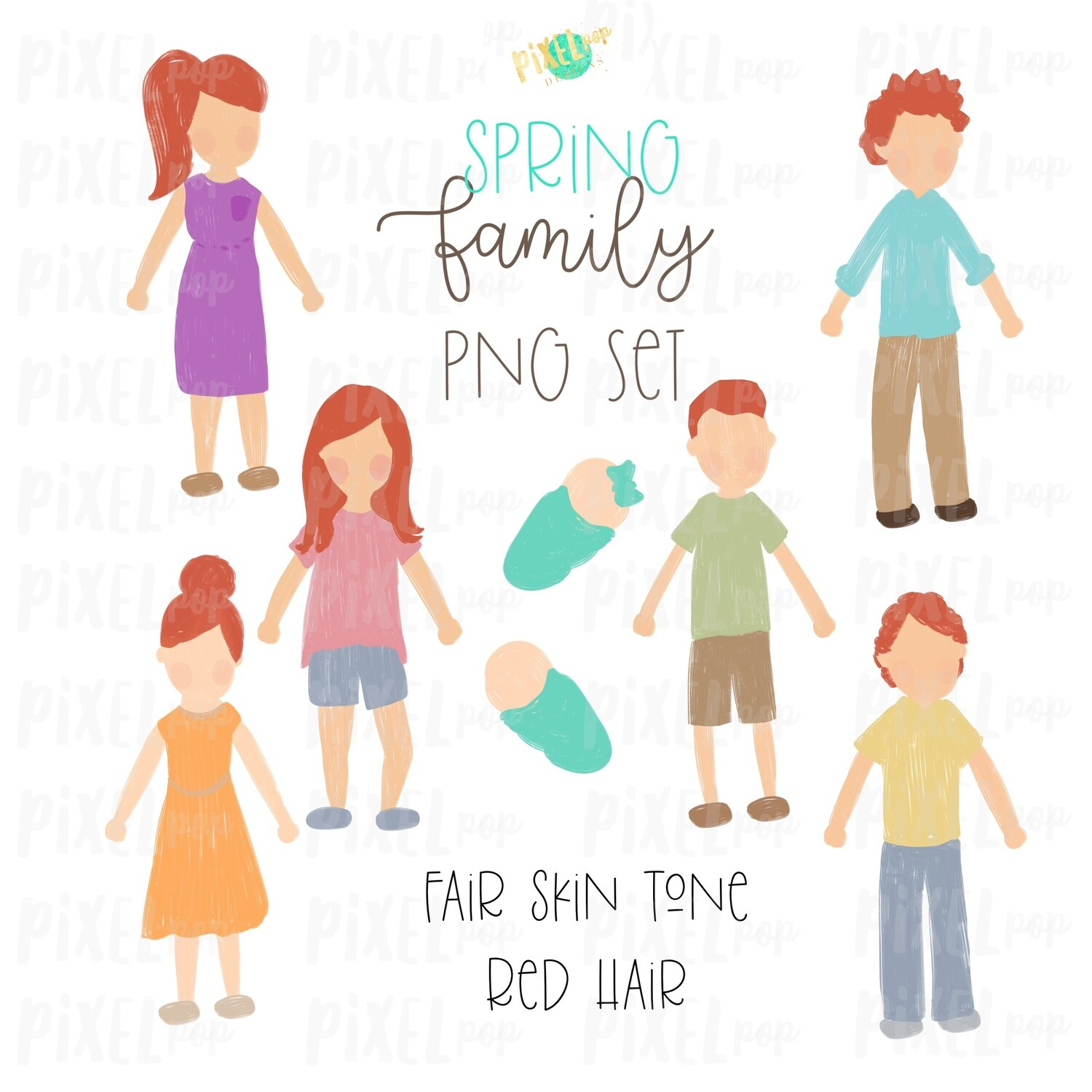 SPRING Fair Skin Red Hair Stick People Figure Family PNG Sublimation   Family Ornament   Family Portrait Images   Digital Download