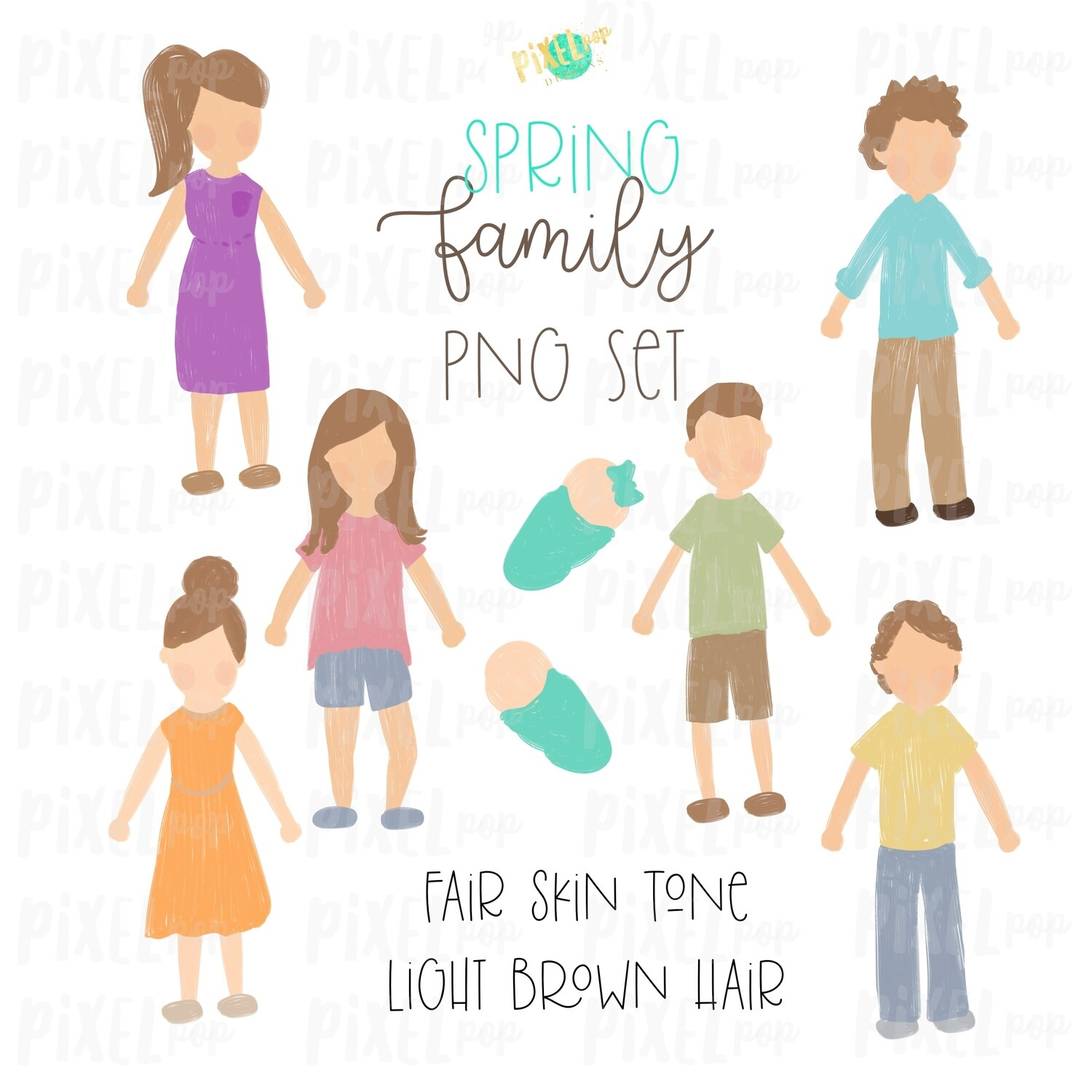 SPRING Fair Skin Light Brown Hair Stick People Figure Family PNG Sublimation | Family Ornament | Family Portrait Images | Digital Download