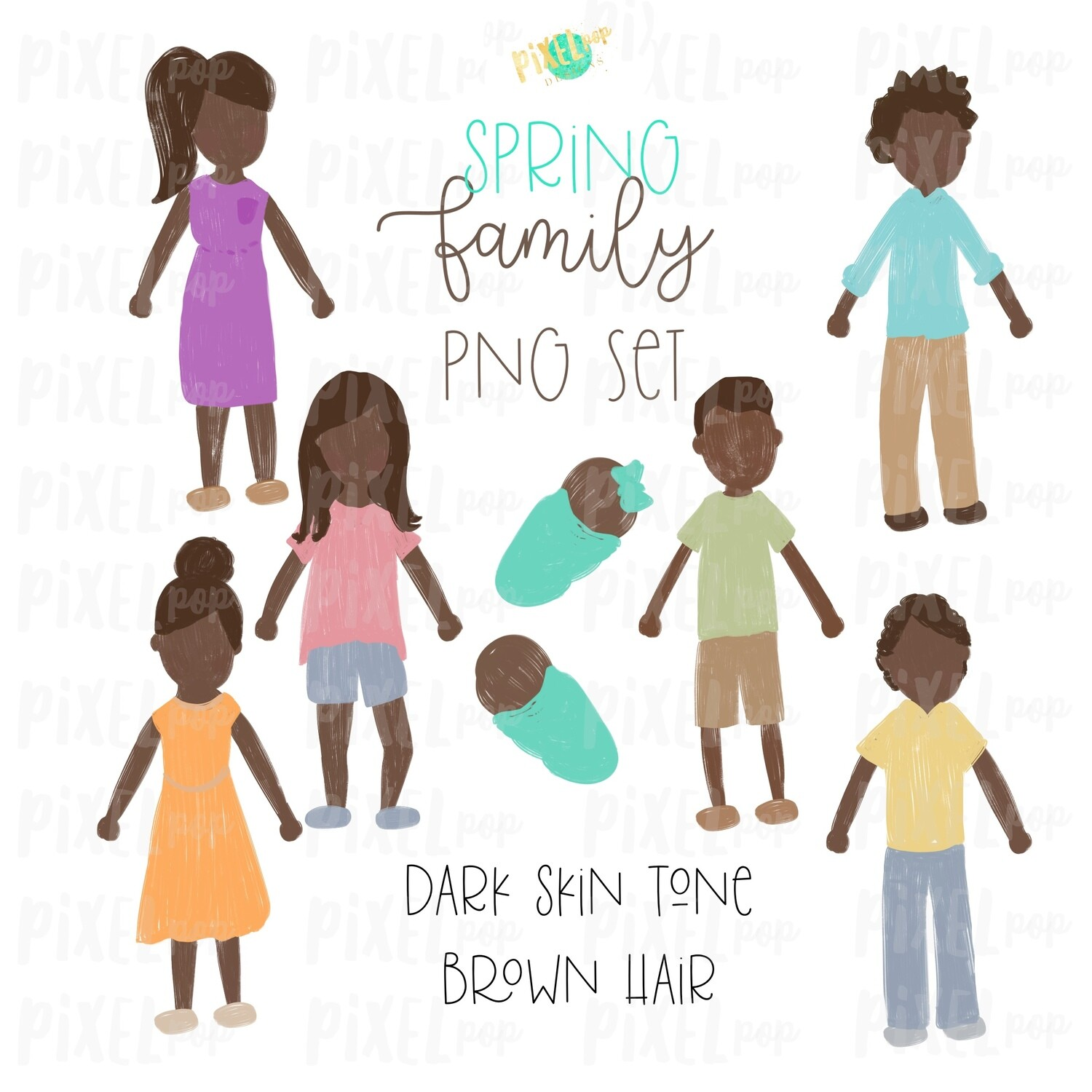 SPRING Dark Skin Brown Hair Stick People Figure Family PNG Sublimation | Family Ornament | Family Portrait Images | Digital Download