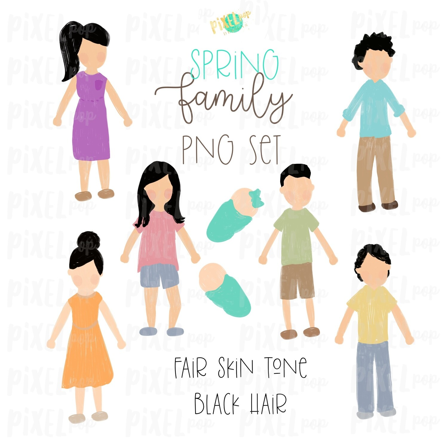 SPRING Fair Skin Black Hair Stick People Figure Family PNG Sublimation | Family Ornament | Family Portrait Images | Digital Download