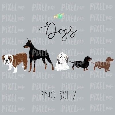 Dog Pets Set 2 for Stick Figure People Family Members Art PNG Sublimation | Family Ornament | Family Portrait Images | Digital Download