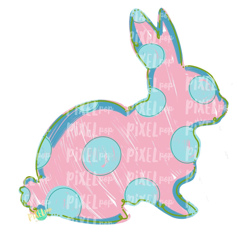 Bunny Polka Dot Silhouette PINK Sublimation Design PNG | Easter Art | Heat Transfer PNG | Digital Download | Printable Artwork | Digital Art