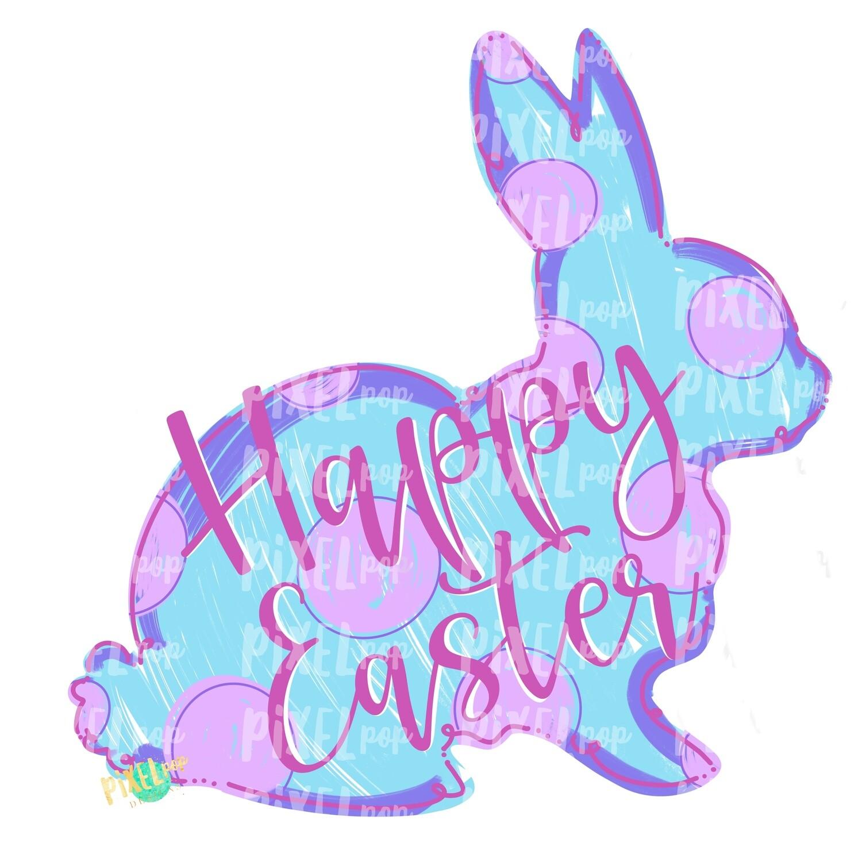 Happy Easter Bunny Polka Dot Silhouette BLUE Sublimation PNG | Easter Art | Heat Transfer PNG | Digital Download | Printable | Digital Art