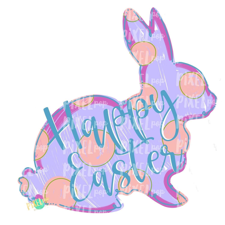 Happy Easter Bunny Polka Dot Silhouette PURPLE Sublimation PNG | Easter Art | Heat Transfer PNG | Digital Download | Printable | Digital Art