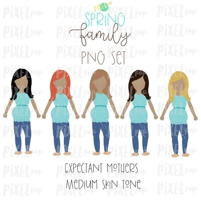 Expectant Pregnant Mothers SPRING Medium Skin Tone Stick People Figure Members PNG | Family Ornament | Family Portrait Images | Digital Art