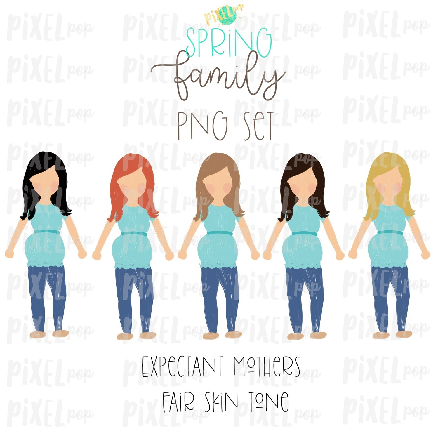 Expectant Pregnant Mothers SPRING Fair Skin Tone Stick People Figure Members PNG | Family Ornament | Family Portrait Images | Digital Art